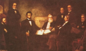 First reading Emancipation Proclamation, Lincoln and his cabinet