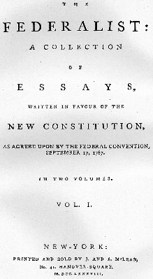 Cover page to Federalist Papers
