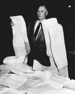 South Carolina senator Strom Thurmond, launching the longest filibuster in Senate history, against the 1957 civil rights act