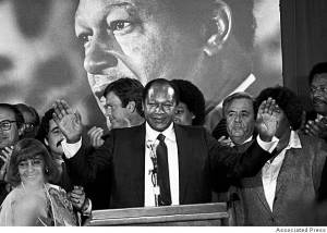 Former Los Angeles mayor Tom Bradley, unsuccessful Democratic nominee for governor, California, 1982