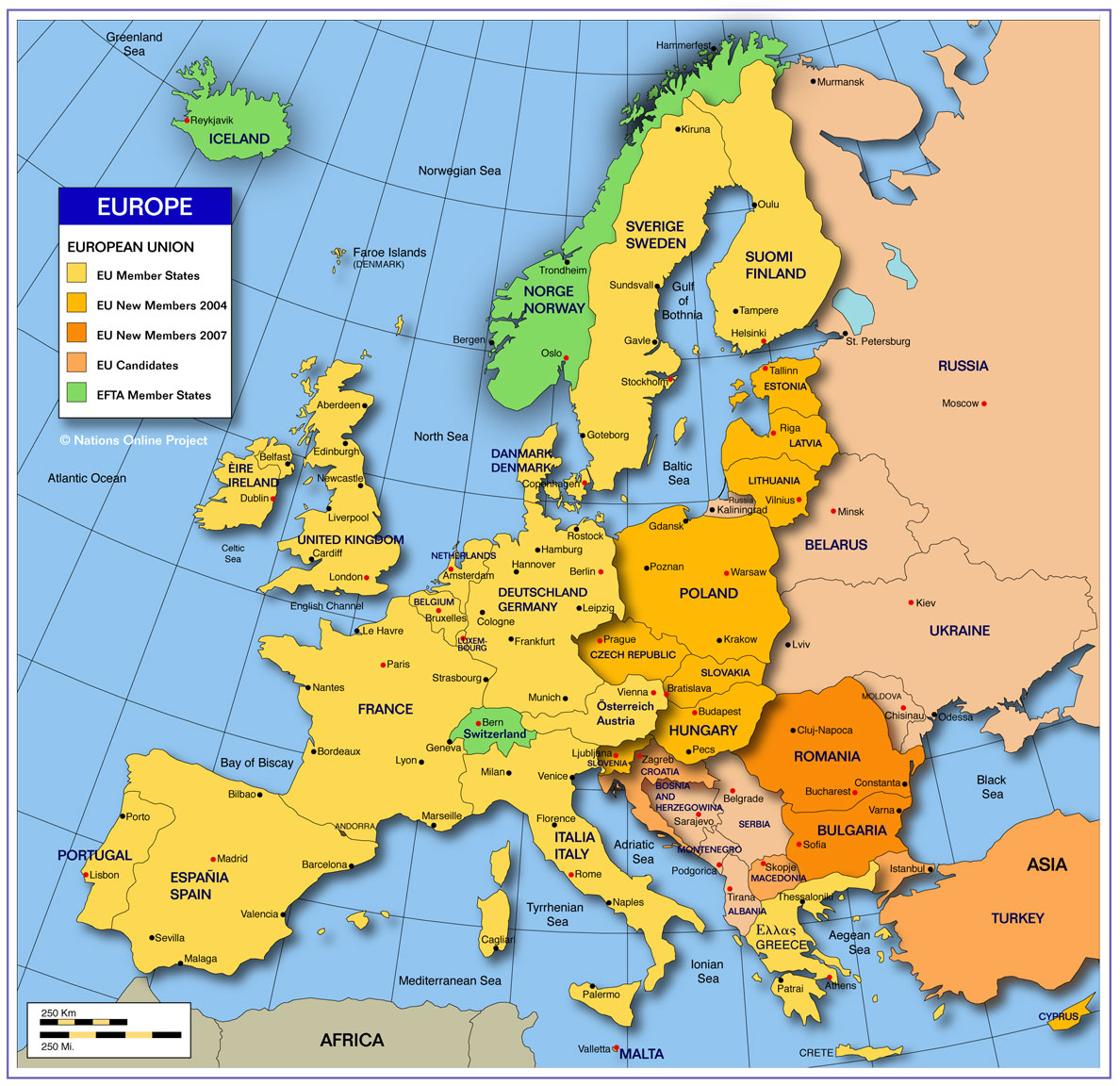 map showing the countries of europe with international borders the national capitals and major cities