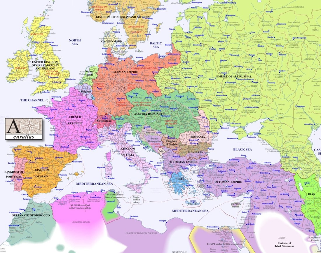 europe map 1900 KC Johnson